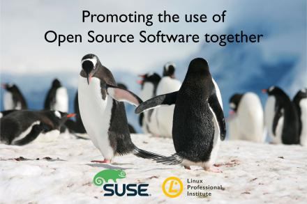 Penguins giving hands for promoting the use of open source