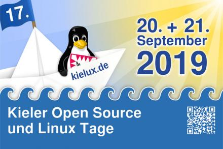 Ad image Kieler Open Source und Linux Tage with penguin in a boat