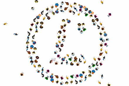 People grouped in form of an LPI logo
