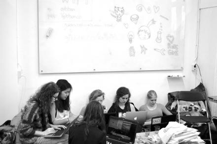 Participants of Rails Girls Summer of Code with their Laptops