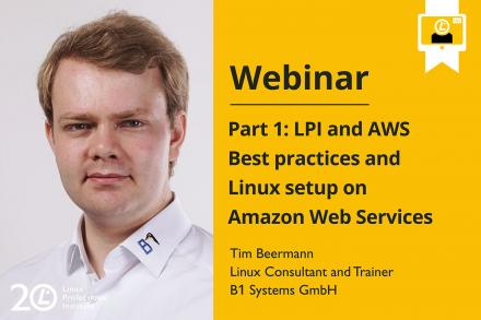 Webinar announcement image LPI and AWS showing Tim Beermann