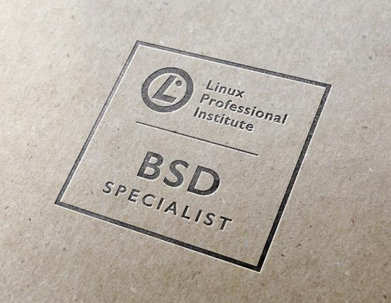 Linux Professional Institute BSD Specialist logo on paper background